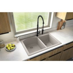 "QT-610-CN Quartz 33"" X 22"" Double Basin Drop-In Kitchen Sink   Wayfair North America"