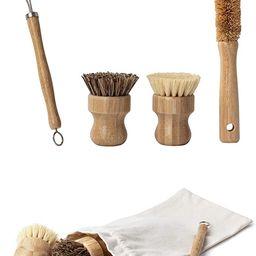 Earth's Own Natural Bamboo Dish Scrub Brush 4 Piece Set - Made From 100% Natural Bamboo -Natural ... | Amazon (US)