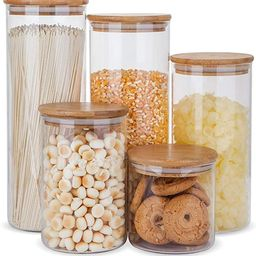 Glass Food Storage Containers Set,Airtight Food Jars with Bamboo Wooden Lids - Set of 5 Kitchen C... | Amazon (US)
