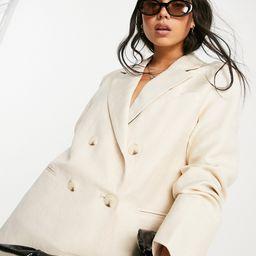 Bershka oversized linen blazer set in beige-Neutral | ASOS (Global)