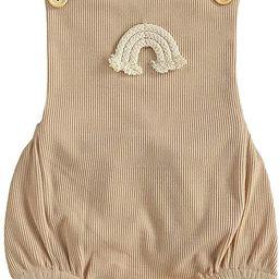 Newborn Infant Baby Boys Girls Summer Clothes Outfits Boho Rainbow Ribbed Sleeveless Romper Jumps... | Amazon (US)