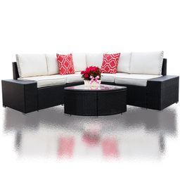 6 Pieces Outdoor Manual Weaving Patio Wicker Rattan Sofa Conversation Set, Sectional Furniture Se...   Walmart (US)