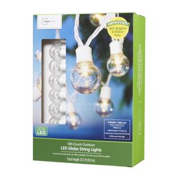 Mainstays 100 Count Outdoor LED Globe String Lights, White Wire   Walmart (US)