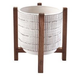 Ceramic Planter on Wood Stand - Indoor/Outdoor Decorative Pot   Walmart (US)