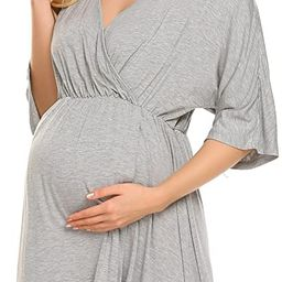 Ekouaer Women's Maternity Dress Nursing Nightgown for Breastfeeding 3 in 1 Labor Delivery Robe - ...   Amazon (US)