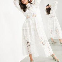 ASOS EDITION broderie shirt dress in white | ASOS (Global)