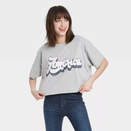 Women's America Short Sleeve Cropped Graphic T-Shirt - Gray | Target