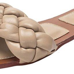 Womens Square Open Toe Flat Sandals Braided Strap Slide Sandals Slip On Slides | Amazon (US)