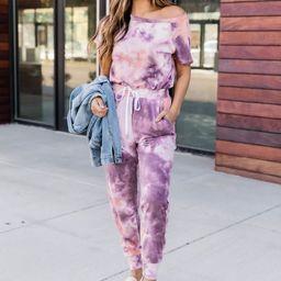 Complete Your desire Tie Dye Purple Jumpsuit FINAL SALE   The Pink Lily Boutique