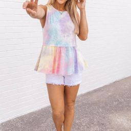 Force Of Reason Tie Dye Tank Lavender FINAL SALE   The Pink Lily Boutique