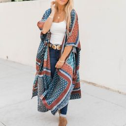 A Typical Day Patchwork Navy Kimono FINAL SALE   The Pink Lily Boutique