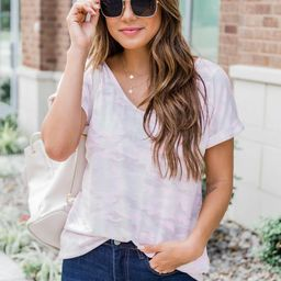 You Look Like A Star Blush Camo Blouse FINAL SALE   The Pink Lily Boutique