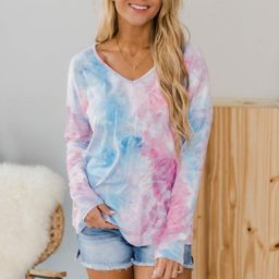 Have The Best Day Tie Dye Blouse Pink/Blue FINAL SALE   The Pink Lily Boutique