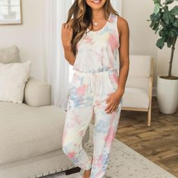 Throw Confetti Tie Dye Multi Jumpsuit FINAL SALE   The Pink Lily Boutique