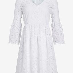 Eyelet Lace Flare Sleeve Dress | Express