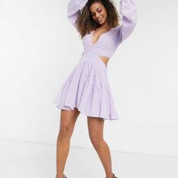 Bardot cut-out balloon sleeve mini dress in lilac   ASOS (Global)