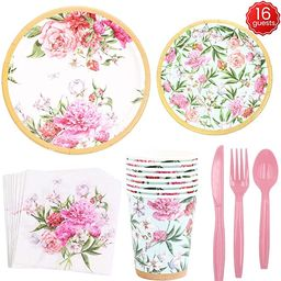 Vintage Floral Party Supplies Set,112 PCS Including Knives, Spoons, Forks, Paper Plates, Napkins,...   Amazon (US)