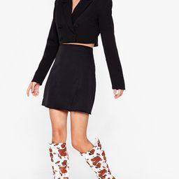 Cow Print Knee High Heeled Boots | NastyGal