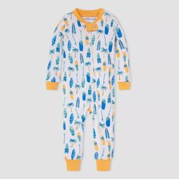 Burt's Bees Baby® Baby Boys' Surfboard and Palm Pajama Jumpsuit - Orange   Target
