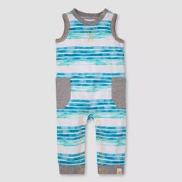 Burt's Bees Baby® Boys' Striped Sleeveless Jumpsuit - Blue   Target
