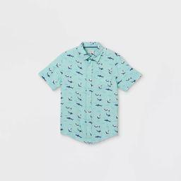 Boys' Shark Button-Down Short Sleeve Shirt - Cat & Jack™ Pale Blue   Target