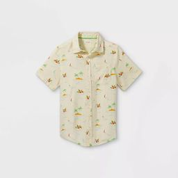 Boys' Challis Short Sleeve Button-Down Shirt - Cat & Jack™ Cream   Target