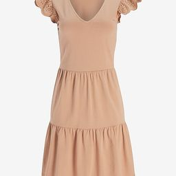 Eyelet Lace Sleeve Tiered T-Shirt Dress | Express