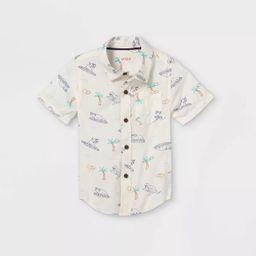 Toddler Boys' Island Print Challis Woven Short Sleeve Button-Down Shirt - Cat & Jack™ Cream   Target