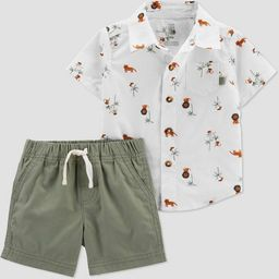 Baby Boys' Safari Top & Bottom Set - Just One You® made by carter's Olive   Target