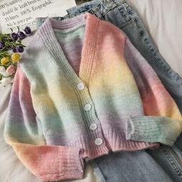 Rainbow-Gradient Knit Cardigan Rainbow - One Size | YesStyle Global
