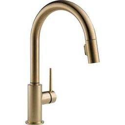 Trinsic Single-Handle Pull-Down Sprayer Kitchen Faucet with MagnaTite Docking in Champagne Bronze | The Home Depot