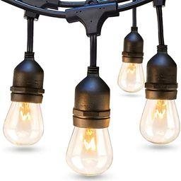 addlon 48 FT Outdoor String Lights Commercial Grade Weatherproof Strand Edison Vintage Bulbs 15 H... | Amazon (US)