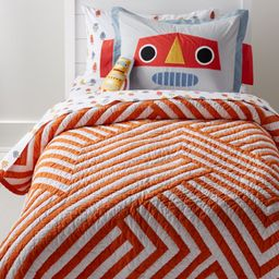 Orange and White Geometric Twin Quilt + Reviews   Crate and Barrel   Crate & Barrel