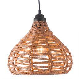 Natural Zigzag Open Weave Teardrop Lola Pendant Lamp   World Market