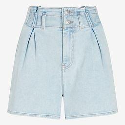 Super High Waisted Elastic Paperbag Waist Jean Shorts | Express