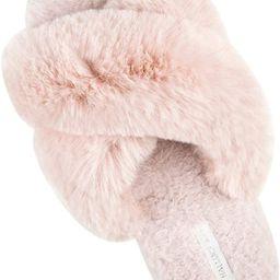HALLUCI Women's Cross Band Soft Plush Fleece House Indoor or Outdoor Slippers | Amazon (US)