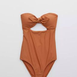 Aerie Tie Bandeau One Piece Swimsuit | American Eagle Outfitters (US & CA)