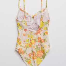 Aerie Printed Ruffle Keyhole One Piece Swimsuit | American Eagle Outfitters (US & CA)