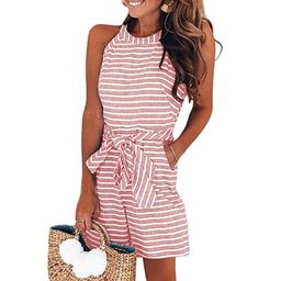 Women's Casual Striped High Neck Sleeveless Wide Leg Belted Rompers Jumpsuits with Pockets   Walmart (US)
