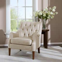 Galesville 29.25'' Wide Tufted Polyester Wingback Chair   Wayfair North America