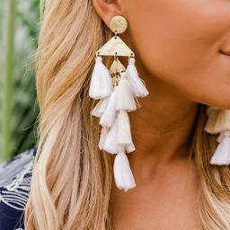 Under The City Light Ivory Tassel Earrings | The Pink Lily Boutique