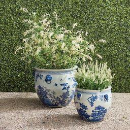 Blue Ming Handpainted Ceramic Planters   Frontgate