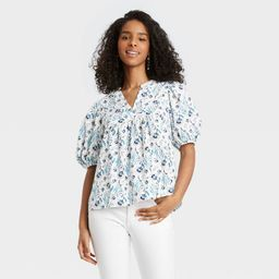 Women's Puff Elbow Sleeve Blouse - Universal Thread™ Floral   Target