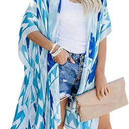 Dokotoo Womens Open Front Printed Loose Style Kimonos Casual Bikini Set Swimwear Cover Up   Amazon (US)