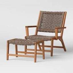 Lena Wood & Rope Patio Chair with Ottoman - Gray - Project 62™   Target