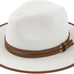 Muryobao Womens Wide Brim Straw Panama Foldable Hat Fedora Summer Beach Sun Hat UPF50+   Amazon (US)