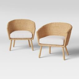 2pk Eliot Closed Weave Wicker Patio Club Chairs - Threshold™   Target