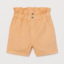 H & M - Cotton Paper-bag Shorts - Orange | H&M (US)