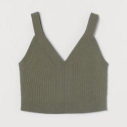 H & M - Rib-knit Crop Top - Green | H&M (US)