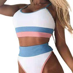 Dokotoo Womens Cute Color Block Ribbed High Waisted Two Piece Bikini Swimsuits   Amazon (US)